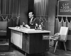 American radio and television talk show host Jack Paar sits behind his desk and talks on the set of the NBC talk show 'The Tonight Show,' renamed 'The Jack Paar Show' while Paar was host, NBC. Johnny Carson, Tonight Show, Old Tv Shows, Classic Image, American, Studios, Background Ideas, Set Design, Fields
