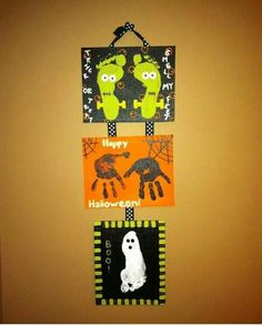 Halloween art project with the kids. Feet and hand print