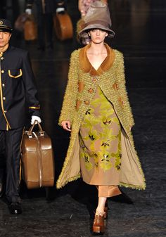 Louis Vuitton Fall 2012 floral print frock with matching overcoat