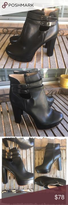 "Demo for Jardells Fashion Line Dropping In 2017 Demo for Jardells Fashion Line Dropping In 2017. Gorgeous soft faux leather platform ankle booties. Pewter colored buckles and inside zipper. 5"" chunky heels with 1.25"" platform. Edgy, trendy, classic, rocket Jardells Shoes Ankle Boots & Booties"