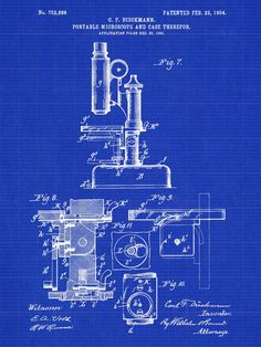 Microscope Patent Poster Original 1903 Patent by PastTensePosters