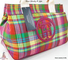 Tommy Hilfiger Logo Satchel Purse Doctors Hand Bag Multicolor Plaid Summer NWT
