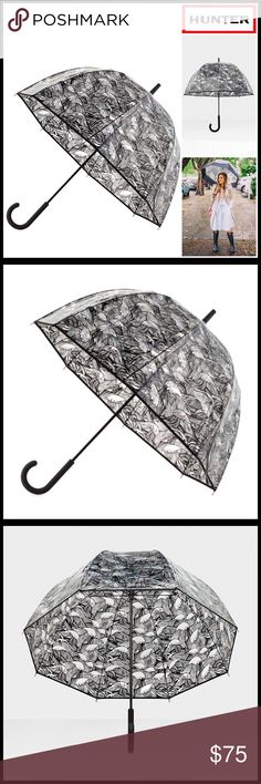 """⭐️⭐️HUNTER ORIGINAL BUBBLE WALKER UMBRELLA HUNTER ORIGINAL BUBBLE WALKER UMBRELLA  COLOR-Black, clear    * Rubber coated curved handle * High quality & well made * Allover water repellant construction * Snap button closure * Approx 35""""length  * Mustache panel detail  * Logo accent  MATERIAL Polyethylene , rubber  ❌NO TRADES❌ ✅BUNDLE DISCOUNTS✅ OFFERS CONSIDERED (Via the offer button) ITEM# SEARCH# Hunter Boots Accessories Umbrellas"""