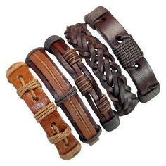 5 Piece Handmade Leather Bracelet Set Easter Gift Material: Leather and hemp. Color: The color and style are like the pictures. Size: Approx.