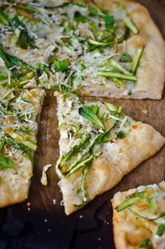 Asparagus and Brie Pizza (with light brie and no chili oil 1/6 recipe is: 377 cals, 13g fat, 19g protein, 2g fiber) good pair with a salad.