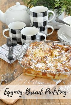 Eggnog Bread Pudding -classic bread pudding gets a festive Christmas twist. Easy… Eggnog Bread Pudding -classic bread pudding gets a festive Christmas twist. Easy enough for any day and special enough for all your Christmas entertaining. Pudding Desserts, Eggnog Bread Pudding, Köstliche Desserts, Pudding Recipes, Delicious Desserts, Dessert Recipes, Bread Puddings, Dessert Bread, Breakfast Recipes