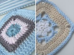 Love these colours. Especially the tan, baby blue, and white for a boy blanket.
