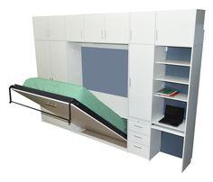 Placard con cama rebatible plegable 2 plazas con escritorio cajoneras estantes-005