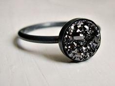 Black druzy ring - oxidized sterling silver ring - minimalist - everyday ring - modern ring