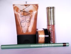 1. Nars, Laguna 2. Silk Naturals, Halo 3. Buxom, Dolly 4. Mally, Tiger's Eye