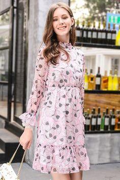 Lace Ruffle Cuff Floral Chiffon Dress - 2 Colors
