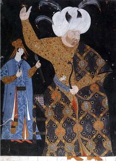 (Turkey) Sultan Selim II at archery pratice. The sultan is wearing a kaftan with a design of tulips and small red flowers in a medallion pattern, over a robe with a floral scrollwork design. Les Balkans, Sultan Murad, Empire Ottoman, Ottoman Turks, Traditional Archery, Turkish Art, Arabian Nights, Islamic Art, Textiles
