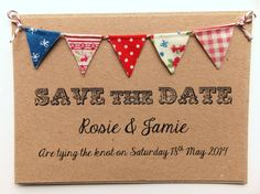 Save The Date Fabric Bunting Wedding Invitation, Country Fete Rustic Summer Wedding Kraft Card
