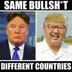 The inevitable Trump/Kim Jong-un hair swap is here and it's devastatingly good Caricatures, Satire, Funny Jokes, Hilarious, Funny Sayings, Memes Estúpidos, Face Swaps, Inevitable, I Laughed