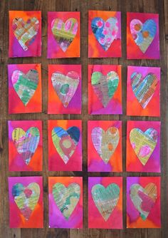 Valentines // Newspaper Heart Postcards - Handmade Valentine's with kids using watercolor and newspaper. Valentines Bricolage, Kinder Valentines, Diy Valentines Cards, Homemade Valentines, Valentine Day Crafts, Valentines Hearts, Valentines Sweets, Saint Valentine, Valentines Day Crafts For Preschoolers