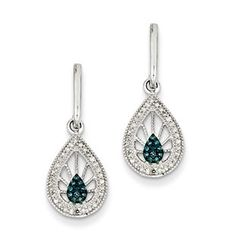 1/4 Carat Blue White Diamond Drop Earrings In Sterling Silver Available Exclusively at Gemologica.com