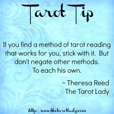 If you find a method of tarot reading that works for you, stick with it. But don't negate other methods.  #tarot #tarottips