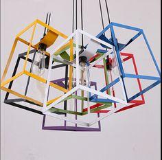 Edison droplight iron Nordic Modern cord pendant lamp design lamp pendant lighting Simple Square Colorful Frame