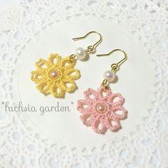 タティングレースの桜の花びら風春色フラワーピアス