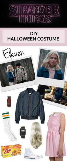 Halloween costume idea Eleven from Stranger Things Cute Halloween Costumes, Halloween Kostüm, Diy Costumes, Comic Con Costumes, Toddler Halloween, Halloween Fashion, Costume Ideas, Halloween Inspo, Halloween Images