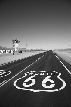 travelroute66:  Route 66 in the Mojave Desert goes on forever.