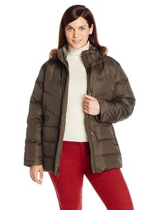 Larry Levine Women's Plus-Size Down Jacket with Removable Faux Fur Trim Hood >>> Hurry! Check out this great product : Plus size coats