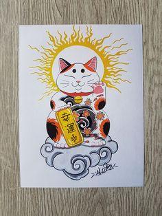 Maneki Neko, Neko Cat, Lucky Cat Tattoo, New Tattoo Designs, Comic Tattoo, Japanese Tattoo Art, Japan Tattoo, Oriental Tattoo, Irezumi
