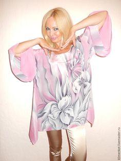 Купить блуза-туника Нежность - бледно-розовый, абстрактный, блуза туника, большие размеры, Батик