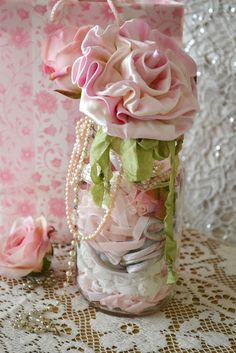 fabric roses and pearls..beautiful..