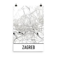 Zagreb Map Zagreb Art Zagreb Print Zagreb Croatia Poster Etsy Map Art City Map Art London Map