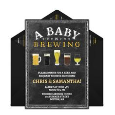 """We're loving this free baby shower invitation. Host """"A Baby is Brewing"""" themed baby shower for a casual way to celebrate with all your family and friends!"""