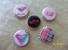 Roxy Bottle Caps by ang744 on Etsy, $4.75
