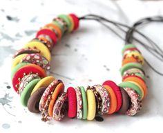 Colorful Necklace of Fimo by LyamayevaCraft on Etsy, €32.00