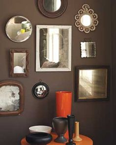 Wall of mirrors.  Looks best on a dark wall reflecting natural window light or a fabulous chandelier.