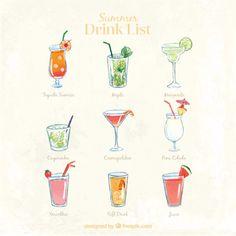 Lista de bebida bonita Vector Gratis