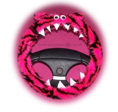Monster Roar Pink tiger steering wheel cover faux fur fluffy furry fuzzy car truck van jeep cute googly eyes teeth dragon truck suv fun van