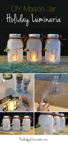 DIY Mason Jar Holiday Luminaria! • Full tutorial showing you how to make these lovely mason jar Christmas luminaries! #DIYmasonjar #Christmasluminaries #DIYChristmasCraft #JoyJars #DIYHolidayLuminaries #ChristmasLuminaria