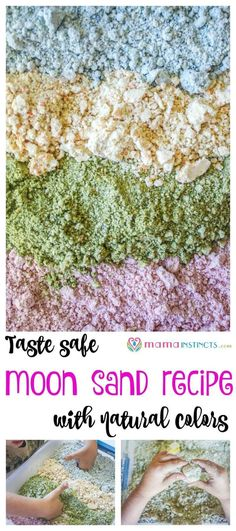 Try this taste safe moon sand recipe with your baby, toddler or kid. Add in a few toys or kitchen utensils for some sensory play fun that's safe and non-toxic. This recipe only uses 2 ingredients + natural food dyes.