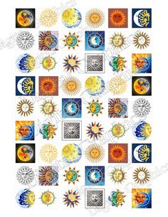 Sun and Moon Digital Collage Sheet Instant by GraphicsDigital, $4.00