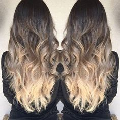 dark brown to light ash brown and blonde ombre