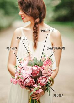 Protea and peony bridal bouquet // Floral Bouquet Recipes by Theme - Part 1