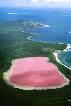 Make your by travelling to natural pink Lake Hillier off the south coast of Western Australia by helicopter. // Mit einem Helikopterflug über den pinkfarbenen Lake Hillier in Westaustralien wird dieser Traum wahr. Beautiful Places In The World, Places Around The World, The Places Youll Go, Places To See, Around The Worlds, Wonderful Places, Amazing Things, Amazing Places, Dream Vacations