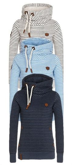Striped Pattern Patchwork Thicken Hoodie Sweatshirt