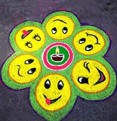 Free Hand Rangoli Designs With Different Smileys Handmade. Rangoli Designs Photos, Rangoli Ideas, Rangoli Designs With Dots, Rangoli Designs Diwali, Diwali Rangoli, Free Hand Rangoli Design, Small Rangoli Design, Latest Rangoli, Simple Rangoli