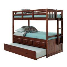 $697 Pine Ridge Twin over Twin Bunk Bed with Trundle - Chocolate: Kids' & Teen Rooms : Walmart.com