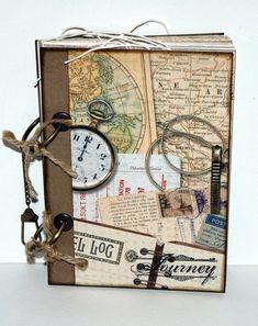 cahier de voyage, horloge ancien, ficelle