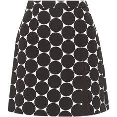 Michael Kors Collection Polka-dot cotton and silk-blend matelassé mini... ($298) ❤ liked on Polyvore featuring skirts, mini skirts, bottoms, black, front slit skirt, michael kors skirts, polka dot mini skirt, short skirts and dot skirt