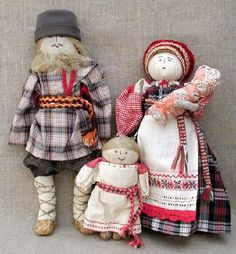 Family. Patchwork dolls by Russian artist of applied art Marina Mishina