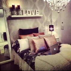#living #bedroom #decor I love the shelf above the bed with the decor and the huge mirror, everything else is too girly for a married couple bedroom!