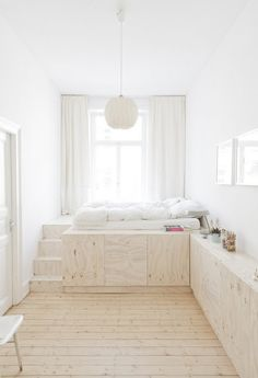 mackapär... love this idea for a long narrow room. Needs a little pop of colour though :)